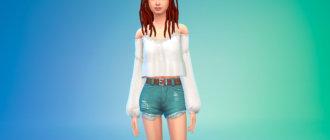 Блузка с длинными рукавами для Симс 4 - фото 1