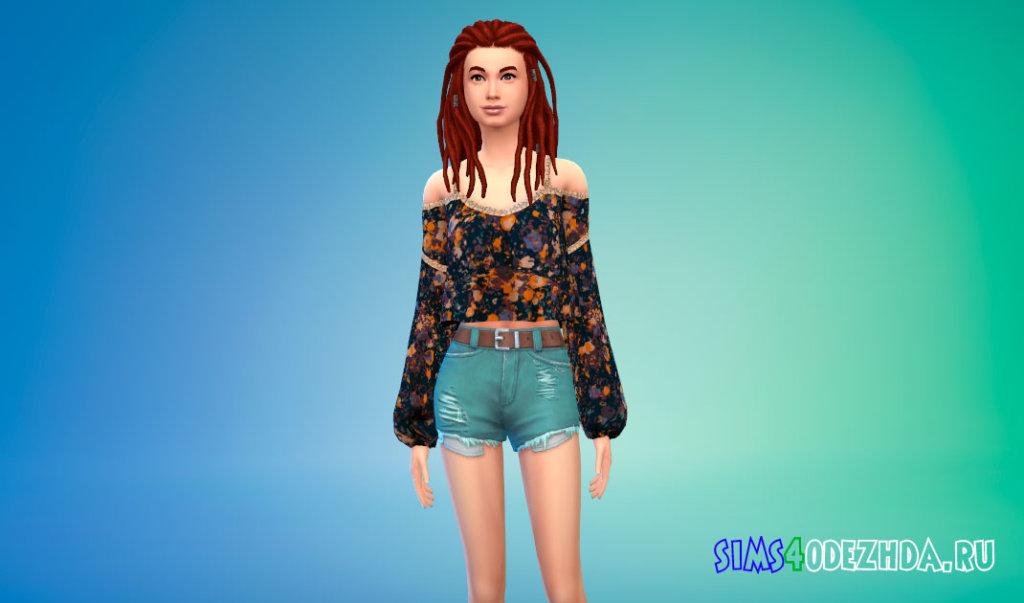 Блузка с длинными рукавами для Симс 4 - фото 3
