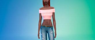 Блузка с открытыми плечами для Симс 4 - фото 1