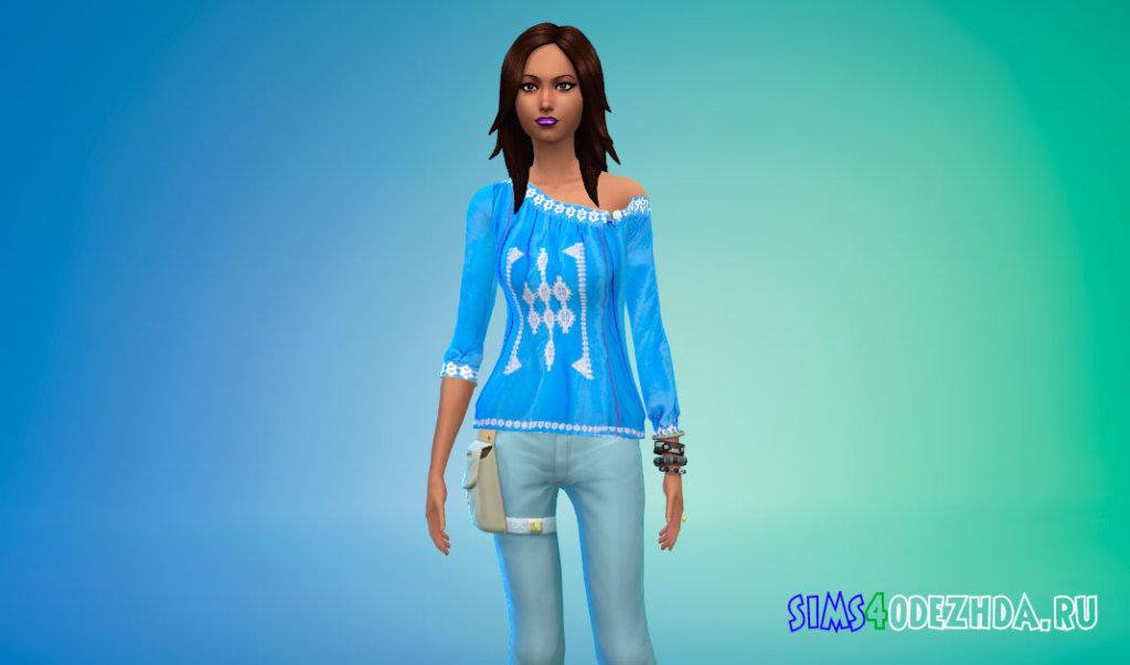 Блузка с открытым плечом для Симс 4 - фото 1