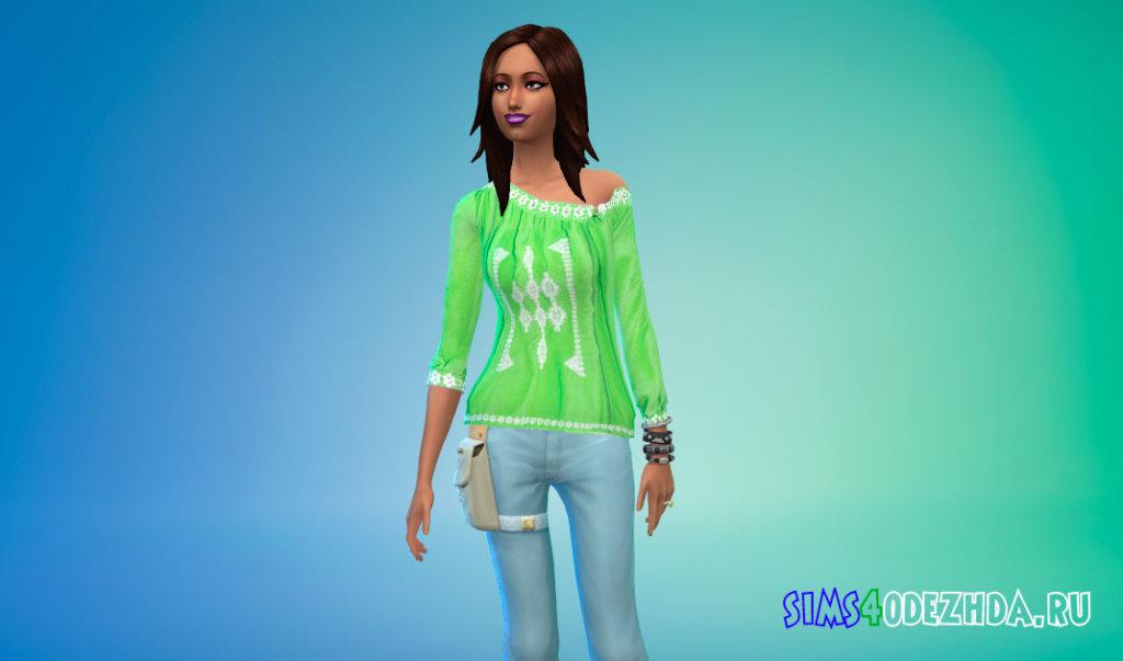 Блузка с открытым плечом для Симс 4 - фото 3