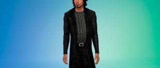 Вампирский кожаный плащ со слегка блестящей рубашкой Симс 4 - фото 1