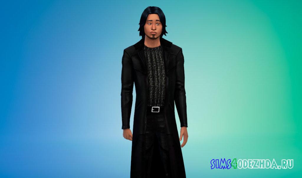 Вампирский кожаный плащ со слегка блестящей рубашкой Симс 4 - фото 3