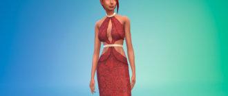Вампирское платье красного цвета Симс 4 - фото 1