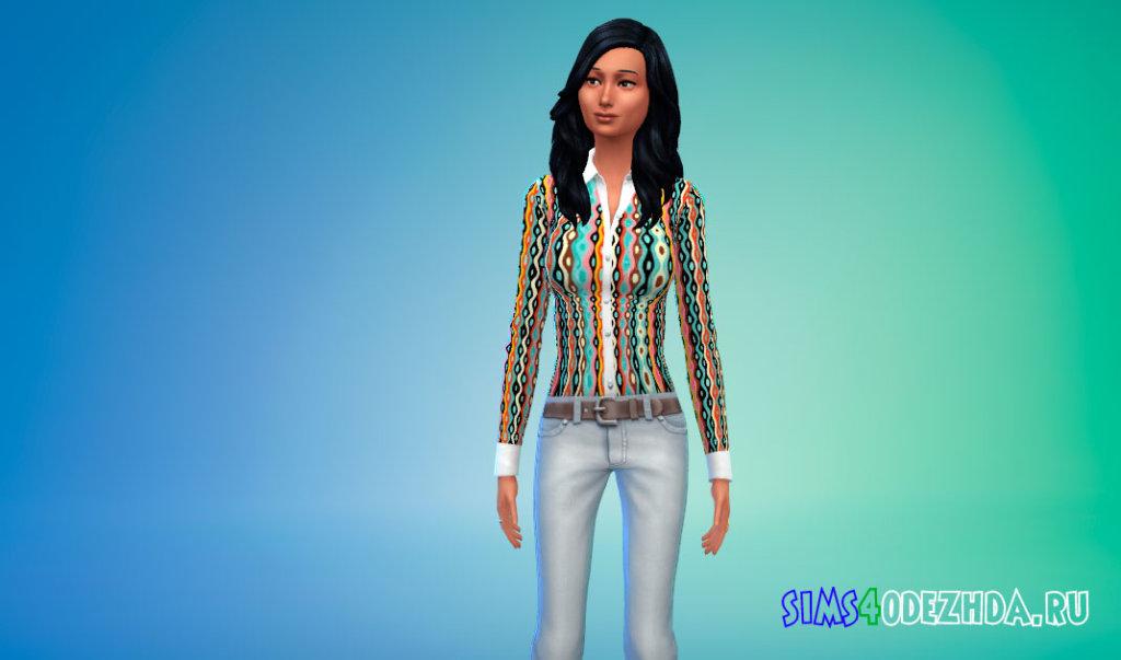 Весенняя элегантная блузка для Симс 4 - фото 2