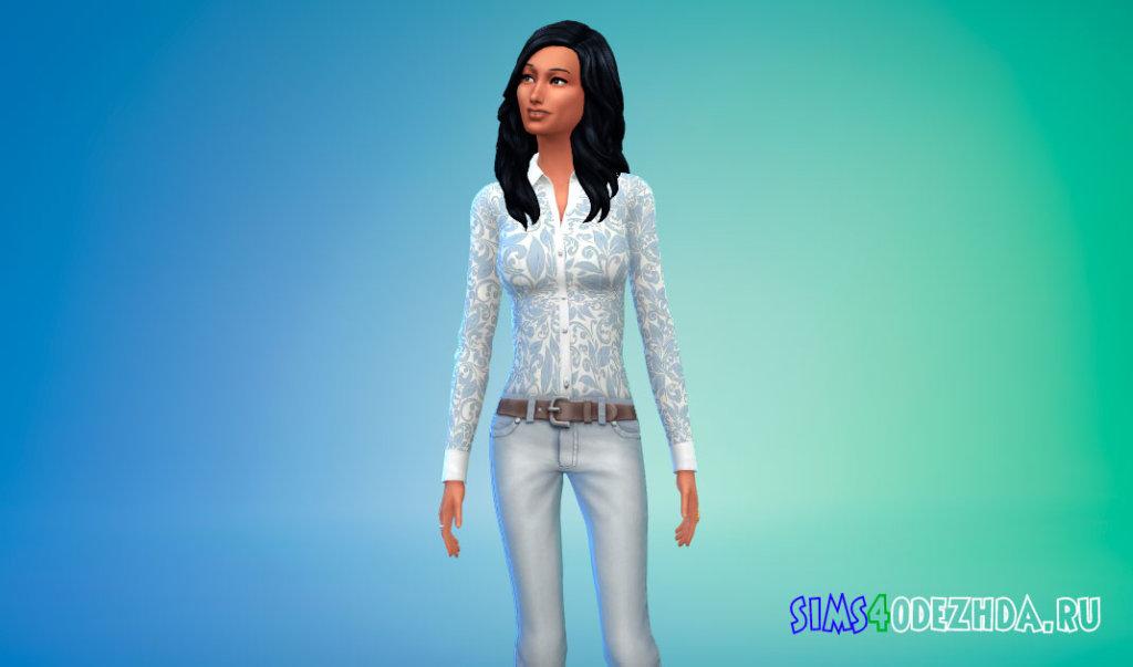 Весенняя элегантная блузка для Симс 4 - фото 3