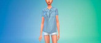 Джинсовая блузка для Симс 4 - фото 1