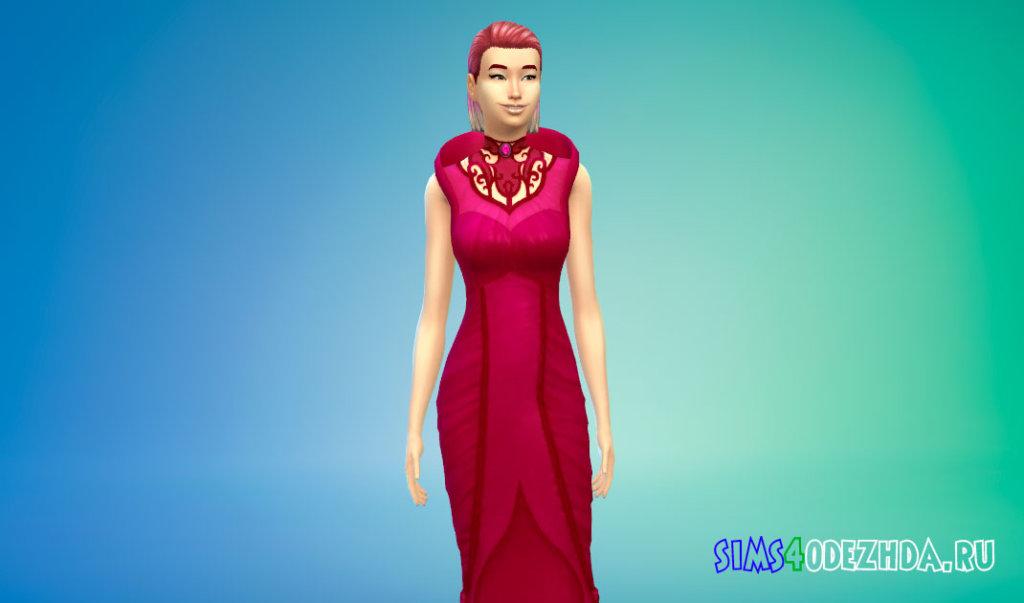 Длинное готическое вампирское платье Симс 4 - фото 1