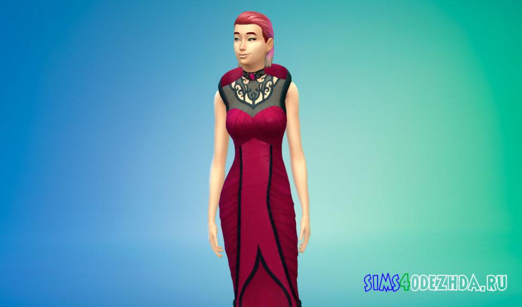 Длинное готическое вампирское платье Симс 4 - фото 2