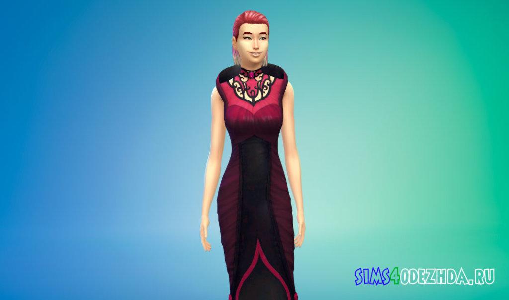 Длинное готическое вампирское платье Симс 4 - фото 3