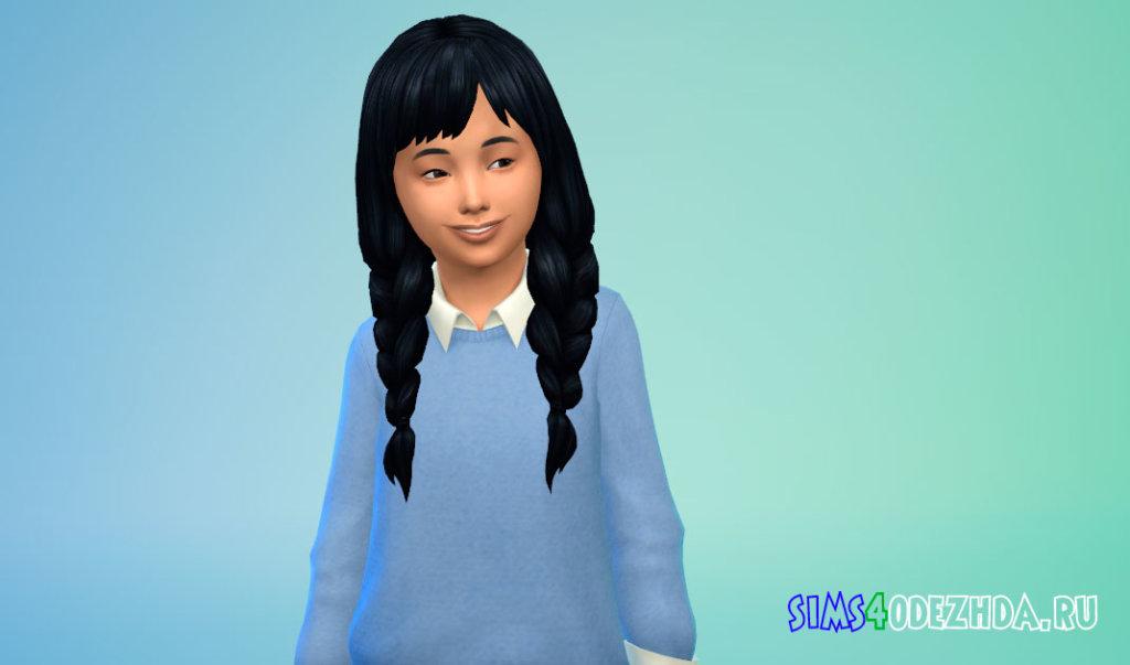 Длинные косички для девочек Симс 4 - фото 1
