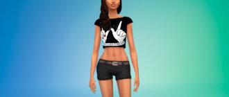 Женская блузка с крутым принтом для Симс 4 - фото 1