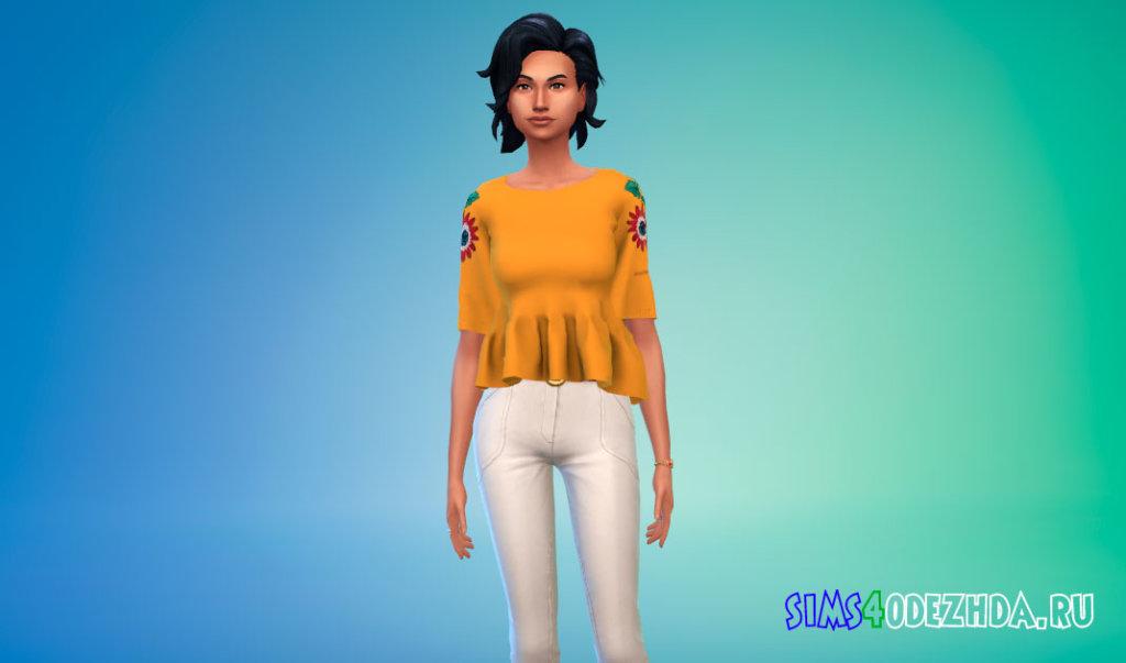 Женская блузка с цветочным принтом для Симс 4 - фото 1