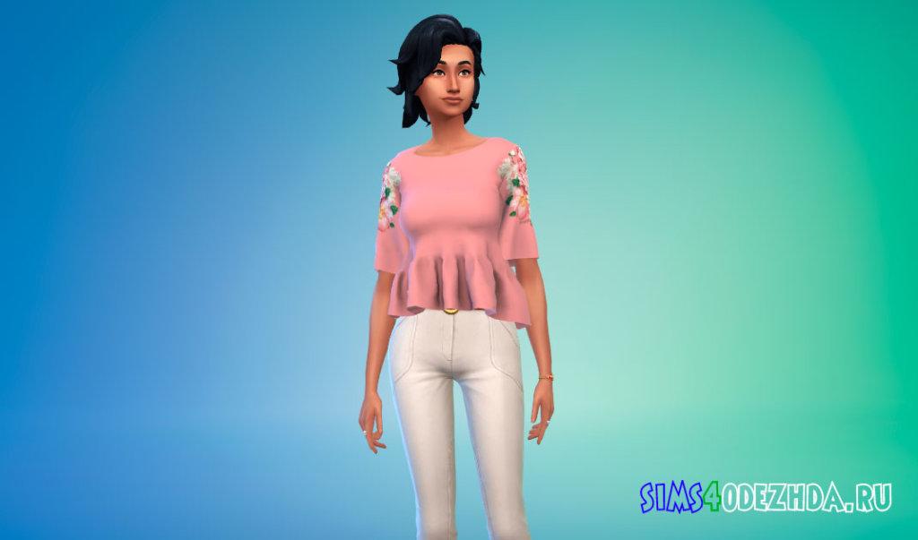 Женская блузка с цветочным принтом для Симс 4 - фото 3