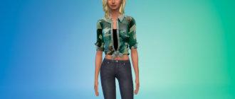 Женская рубашка с узлом для Симс 4 - фото 1