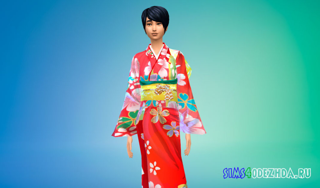 Женское японское кимоно Симс 4 - фото 2
