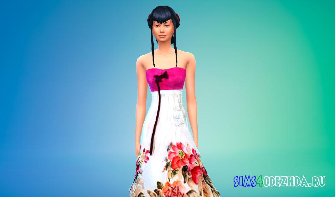 Корейский ханбок с цветами Симс 4 - фото 1