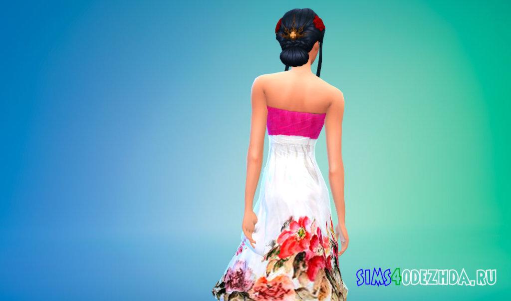Корейский ханбок с цветами Симс 4 - фото 3