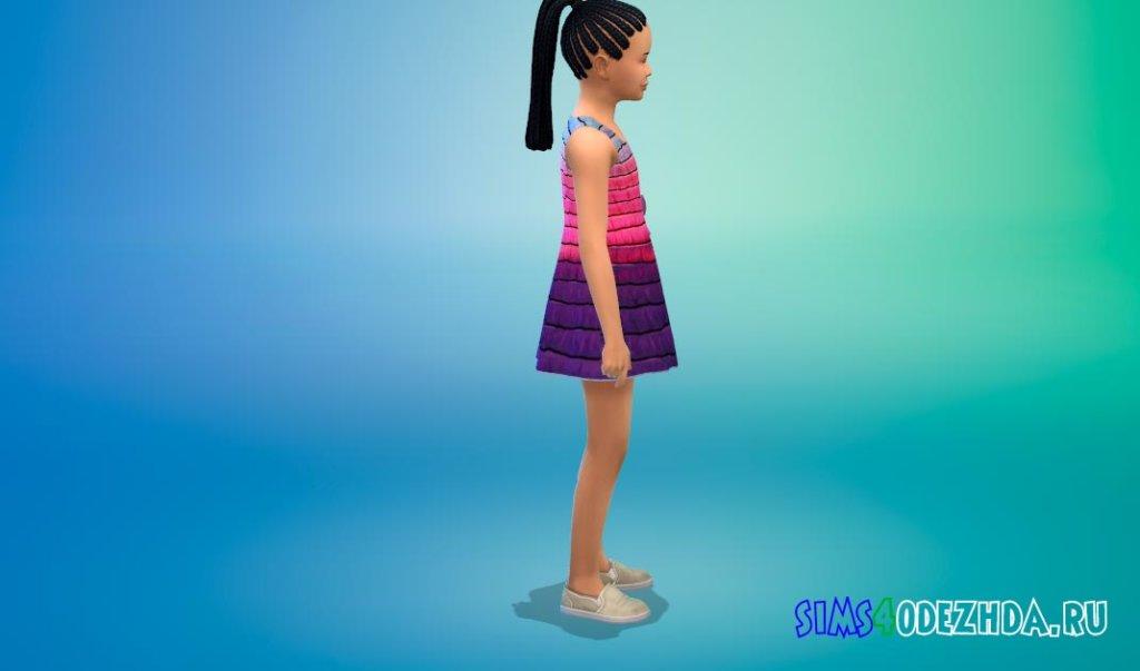Красивое полосатое платье Симс 4 - фото 2