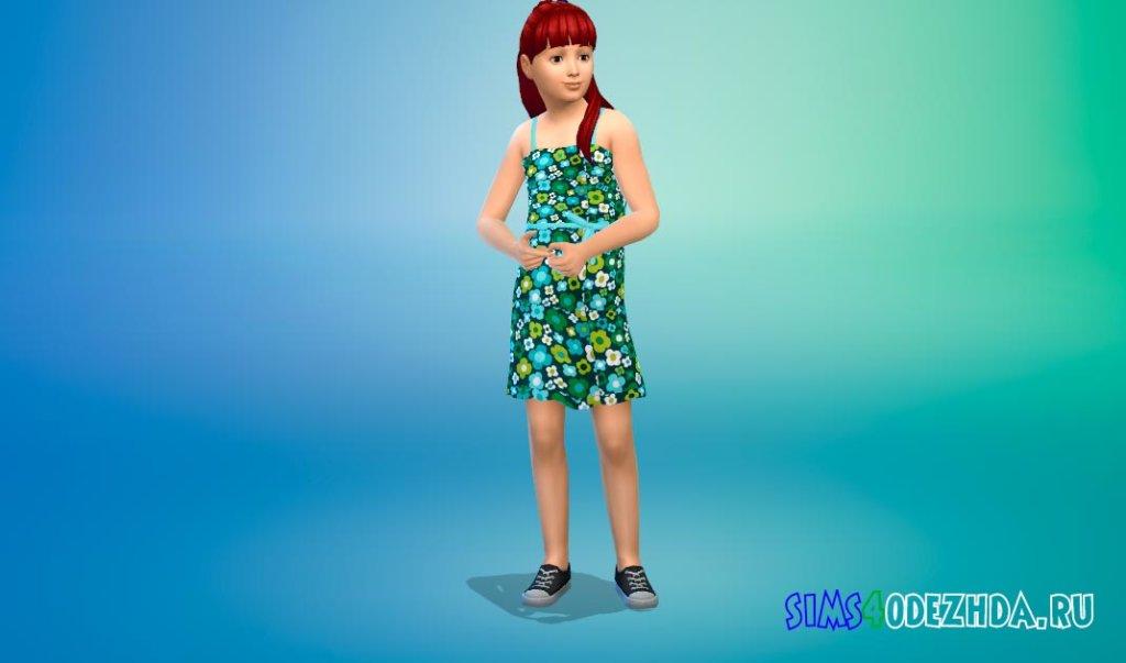 Милое цветочное платье для девочек Симс 4 - фото 1