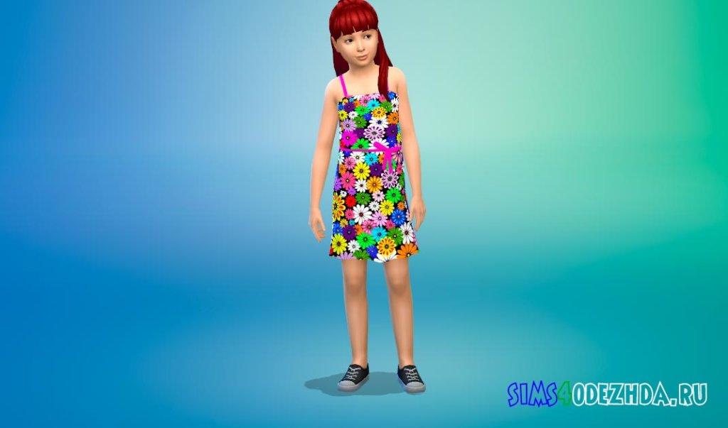 Милое цветочное платье для девочек Симс 4 - фото 2