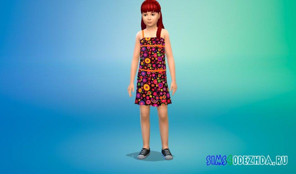 Милое цветочное платье для девочек Симс 4 - фото 3