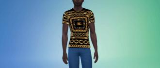 Мужская футболка от Chanel (Шанель) с цепями Симс 4 - фото 1