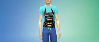 Мужская футболка с бэтменом из Лего фильма Симс 4 - фото 1