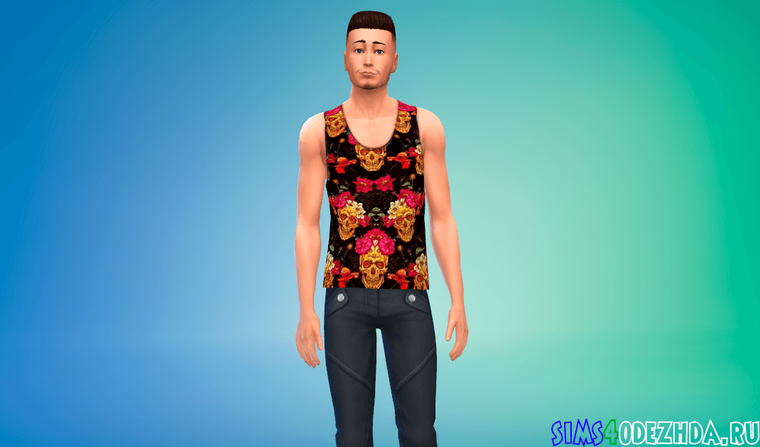 Мужская футболка с золотыми черепами и цветами Симс 4 - фото 1