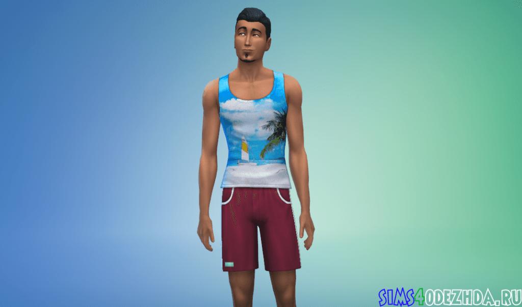 Мужская футболка с пляжным принтом - фото 3