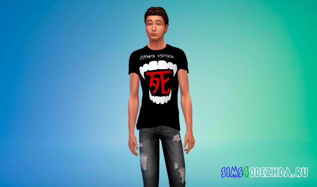 Мужские футболки с японскими иероглифами Симс 4 - фото 2