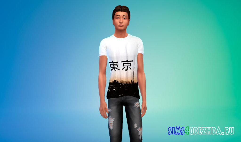 Мужские футболки с японскими иероглифами Симс 4 - фото 3