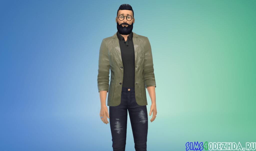 Мужской кожаный пиджак - фото 1