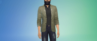 Мужской кожаный пиджак Симс 4 - фото 1