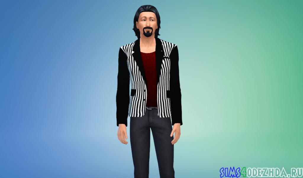 Мужской модный полосатый пиджак - фото 1