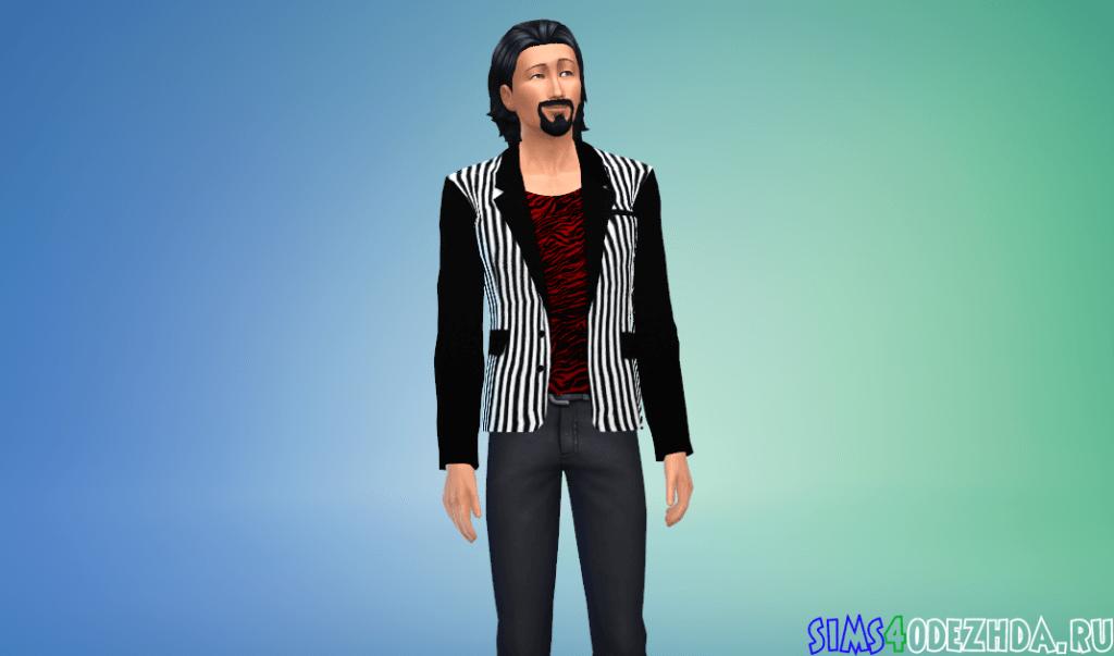 Мужской модный полосатый пиджак - фото 2