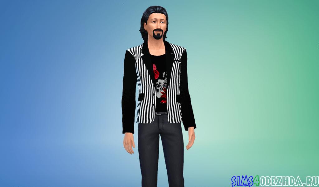 Мужской модный полосатый пиджак - фото 3