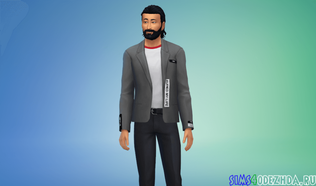 Мужской пиджак с крутой надписью на спине - фото 1