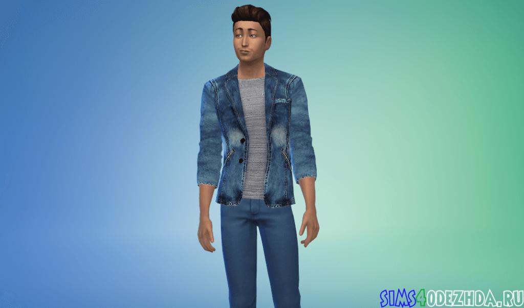 Мужской яркий джинсовый пиджак - фото 1