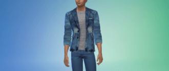 Мужской яркий джинсовый пиджак Симс 4 - фото 1