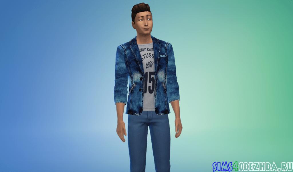 Мужской яркий джинсовый пиджак - фото 2