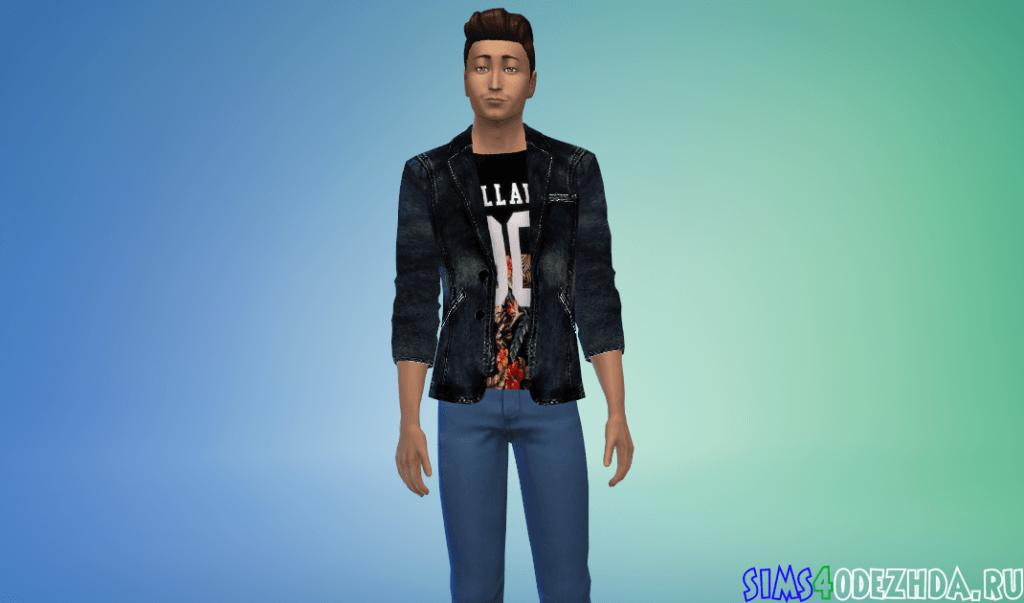 Мужской яркий джинсовый пиджак - фото 3