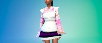 Одежда горничной в японском стиле с короткой юбкой Симс 4 - фото 1