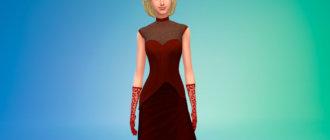 Платье вампира и перчатки Симс 4 - фото 2