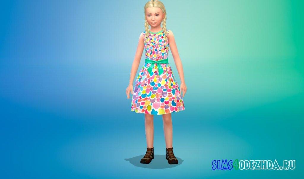 Платье с веселыми принтами Симс 4 - фото 1
