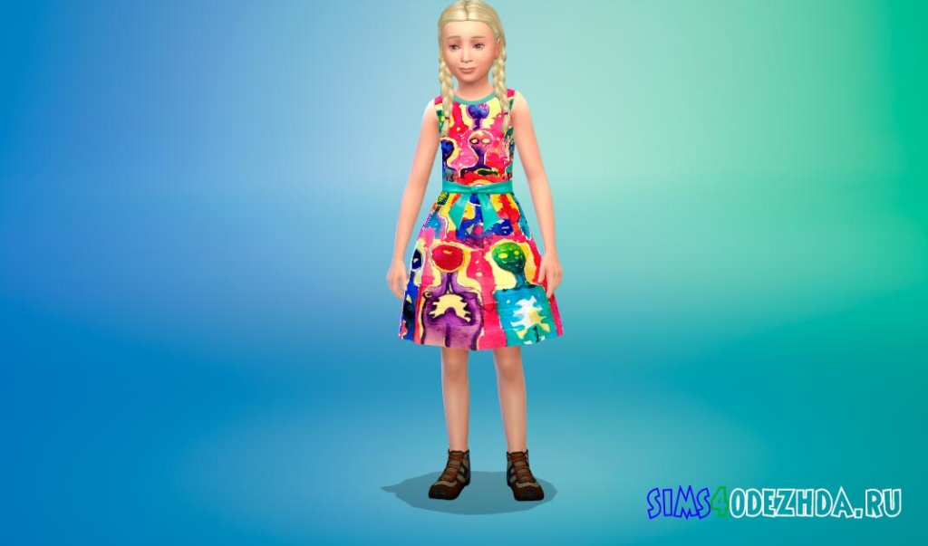 Платье с веселыми принтами Симс 4 - фото 2