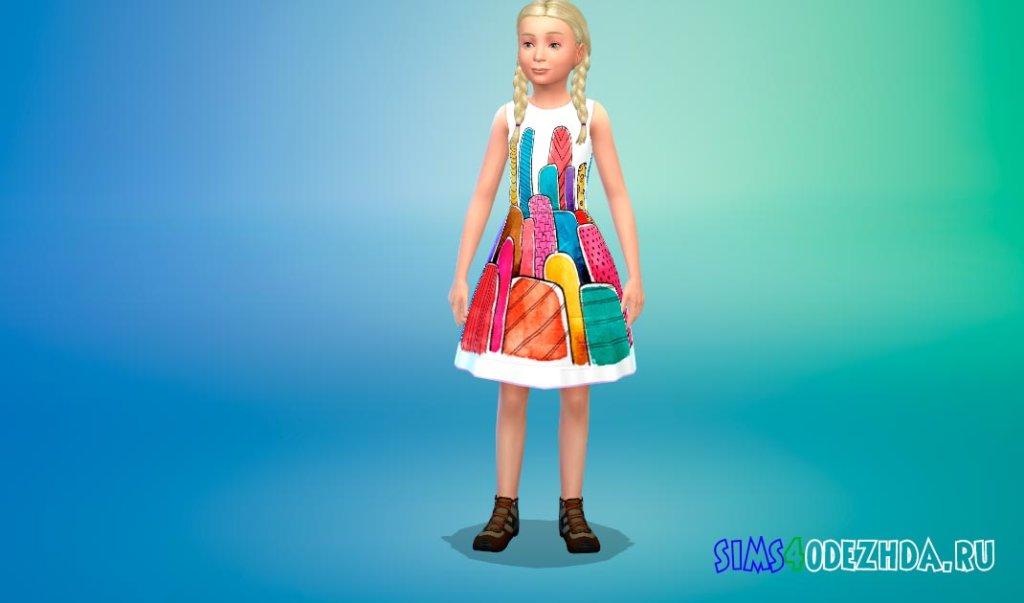 Платье с веселыми принтами Симс 4 - фото 3