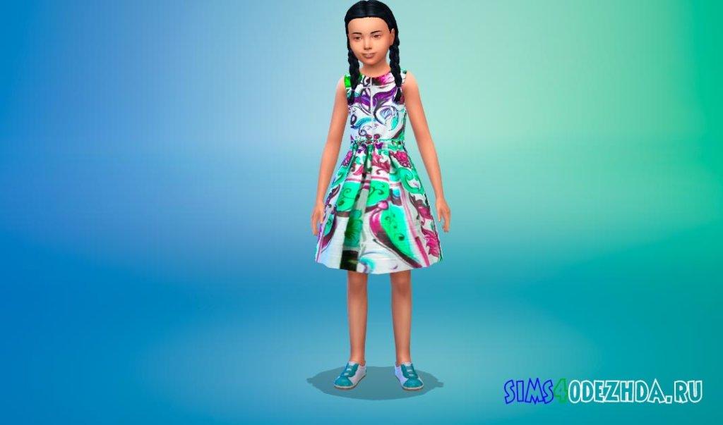 Платье с цветочным принтом Симс 4 - фото 2