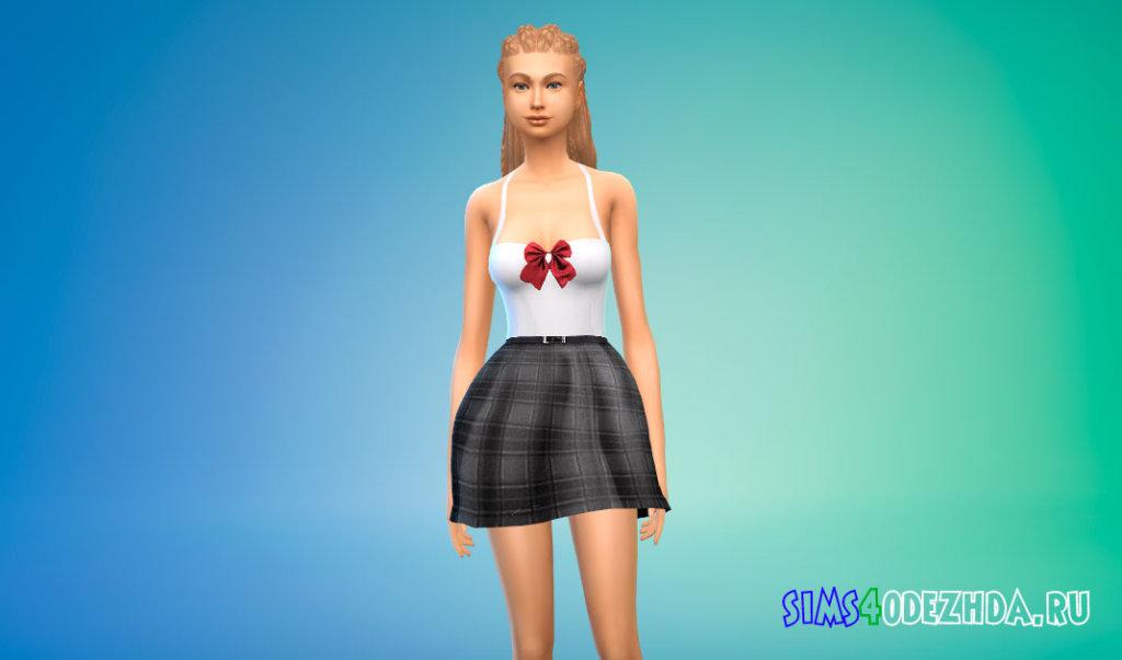 Платье школьной формы для Симс 4 - фото 2
