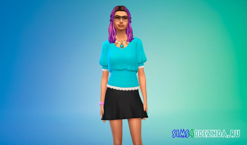 Скромная женская блузка для Симс 4 - фото 3